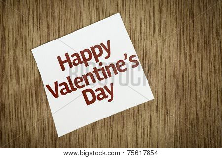 Happy Valentine's Day on Paper Note on texture background