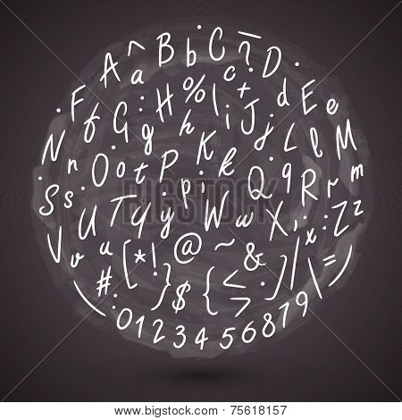 Grunge Hand Made Vector Font. Vector calligraphy background. Round vector alphabet pattern. Vector letters on whiteboard poster