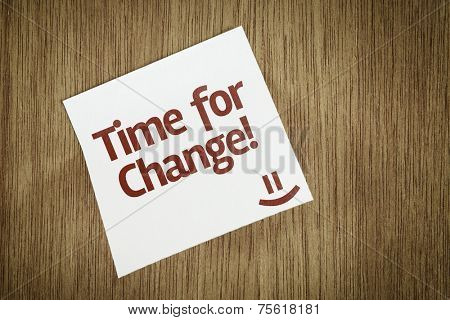 Time For Change on Paper Note on sky background