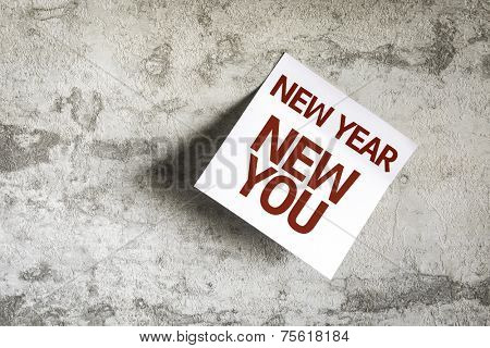 New Year New You on Paper Note on texture background