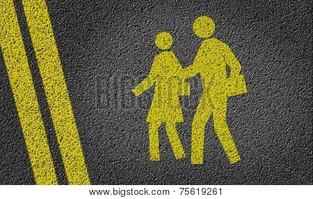 School Area Icon written on road