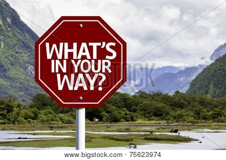 What's in Your Way? written on red road sign with landscape background