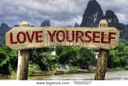 Love Yourself wooden sign with a forest background
