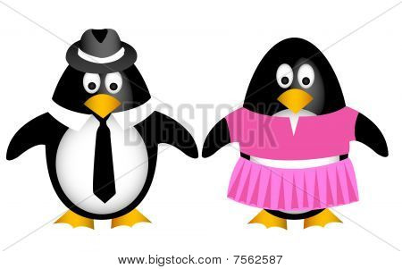 Cartoon penguin family with father mother vector illustration poster