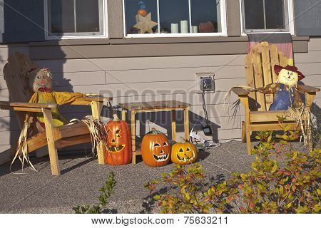 Halloween Decorations On A Porch.
