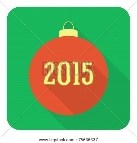 Flat Christmas And 2015 New Year Ball icon, Red On Green Background