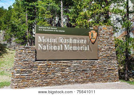 Mount Rushmore Monument Sign In South Dakota