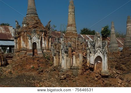Ancient Buddhist Temple On The Border Of Inle Lake , Myanmar.