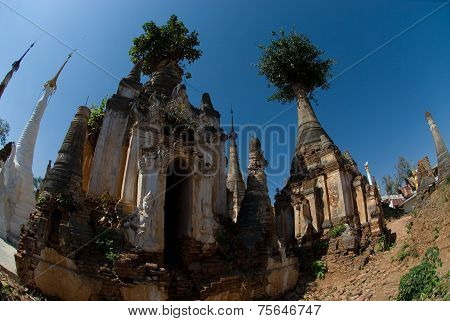 Ancient Pagodas Of Inn Taing Temple Near Inle Lake At Shan State In Myanmar.