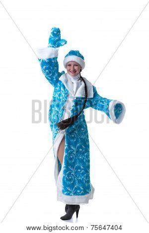 Image of funny Snow Maiden posing at camera