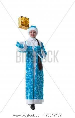 Nice Snow Maiden posing with gift box in studio