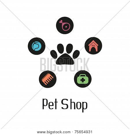Pet shop logo with pet paw and what dog needs