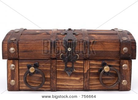 Money chest. Concept of: business, money, pirates and treasure, isolated over white, macro closeup, close-up with copy space poster