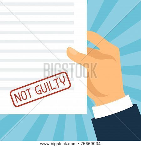 Not guilty concept hand holding paper with stamp.