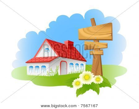 Home and wooden sign