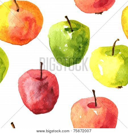 Seamless pattern with watercolor drawing apples