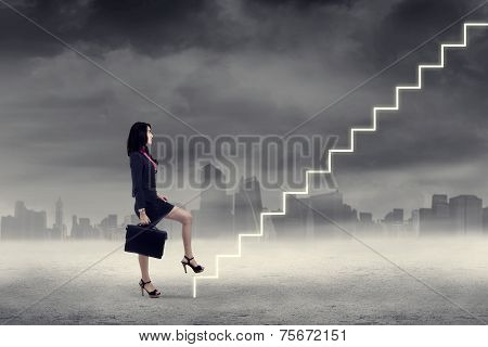 Woman Walking Up On Stairs
