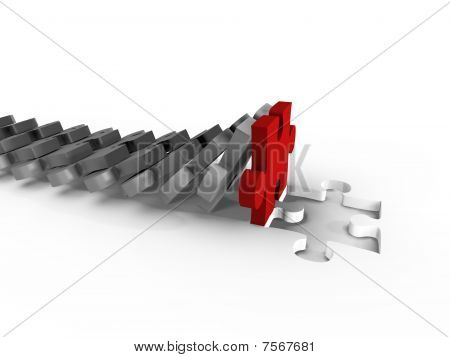 A domino of puzzle filling the gap - 3d image