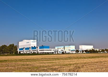 FRANKFURT, GERMANY - APR 7, 2014: buildings of an Industry Park in beautiful landscape near Frankfurt - Sanofi Aventis