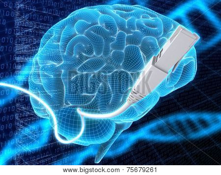 3d illustration - brain and cable