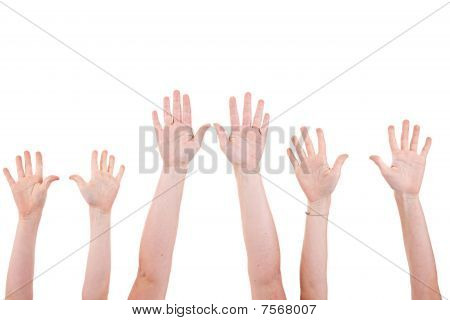Many Children Hands High Up