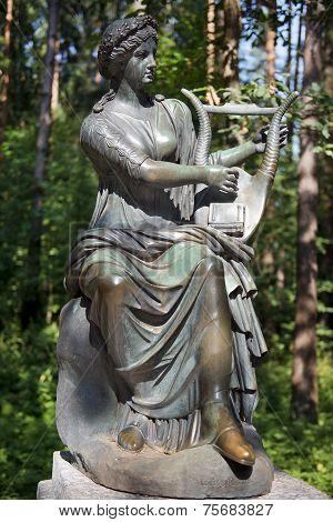 Bronze Sculpture Terpsichore, Muse Of Dance, Pavlovsk Park