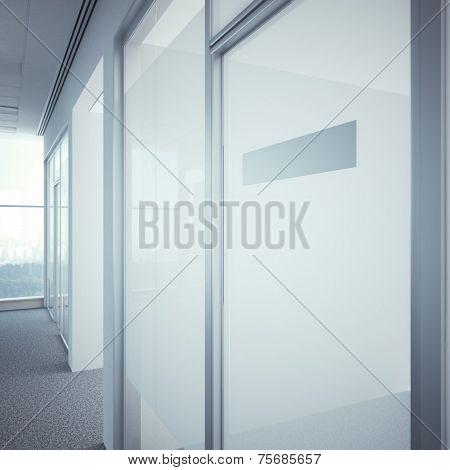 office door with metal nameplate