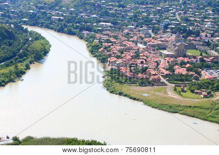 confluence of the Aragvi and Kura rivers