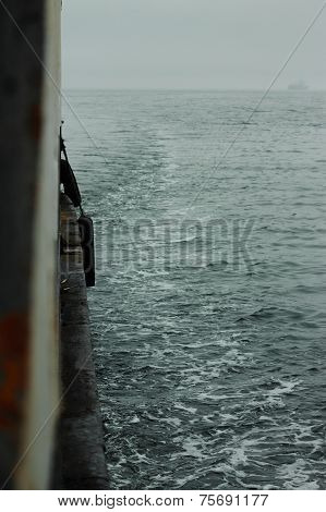 view from passenger ferry on the Japanese sea