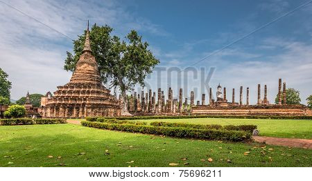 Sukhothai historical park, the old town of Thailand,Mahatat Temple,UNESCO World Heritage poster