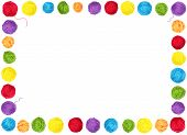 Colorful yarn balls as a frame isolated on white background poster