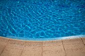 swimming pool blue water detail in summer time poster
