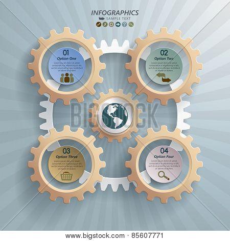 Cogwheels Industrial Infographic Background Concept