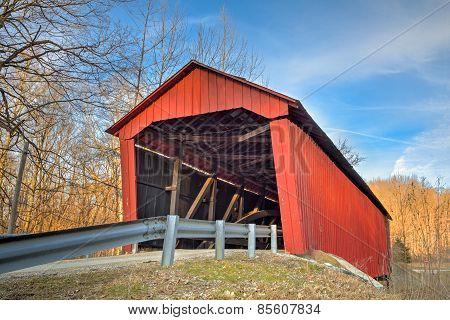 Edna Collings Covered Bridge At Sundown