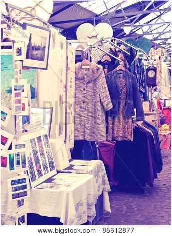 LONDON, UK - MAY 15, 2014: Antique display Greenwich market.