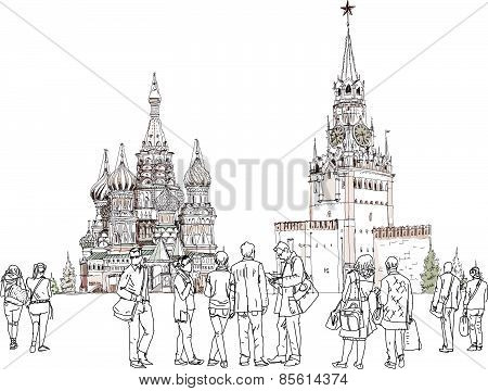 People and tourists on the Red Square in Moscow, Sketch collection