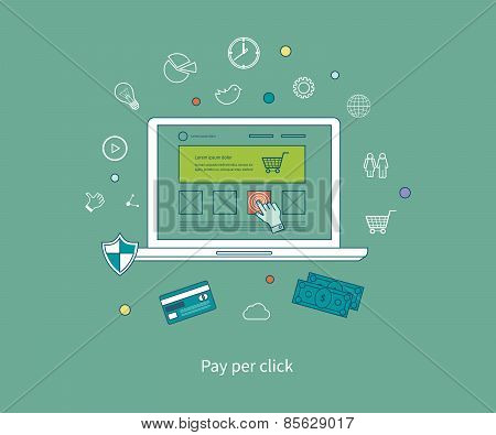 Set of flat design vector illustration concepts of pay per click and mobile marketing