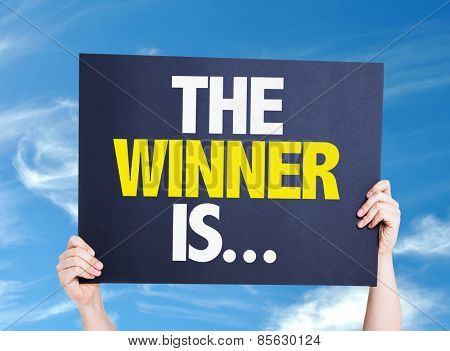 The Winner Is... card with sky background