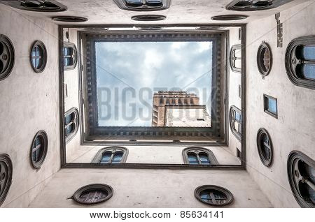 Palazzo Vecchio architecture and geometries seen from courtyard in Florence Italy. poster