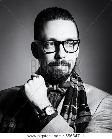 Bw Portrait Of A Handsome Stylish Young Man