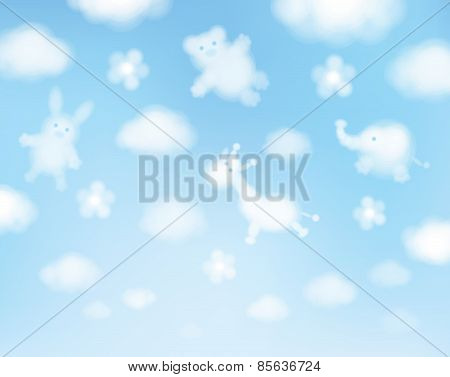 Vector Sky Background, Animals Cartoons.