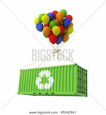 The Concept Of Ecological Transportation. Balloons Are A Freight Container.