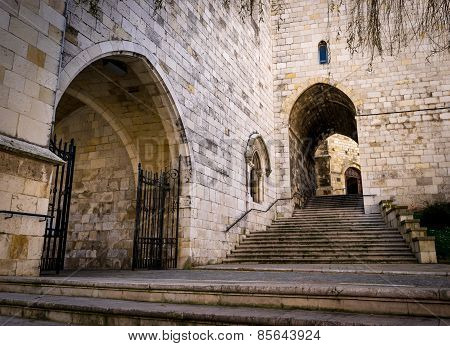 Santander Cathedral, Facade And Secondary Staircase Of Access