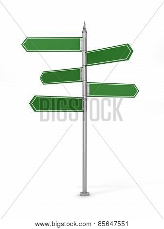 Clean Blank Of Road Sign On White Background.