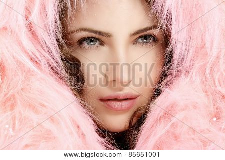 Beautiful Model Protect Her Head With A Pink Fur Hood