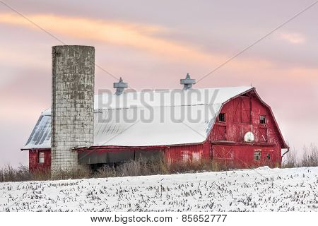 Winter Barn At Sundown