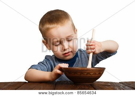 Cute Blonde Boy Eating Isolated