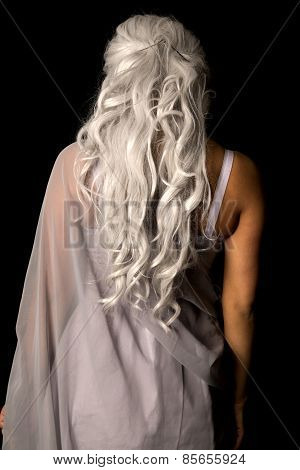 Woman Gray Hair From Back Stand On Black