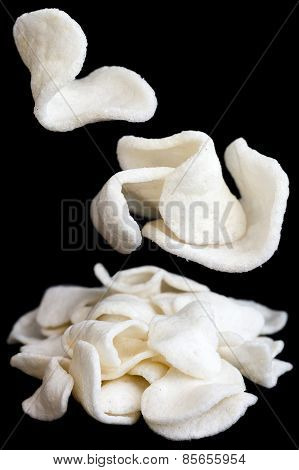 Collage of prawn crackers.
