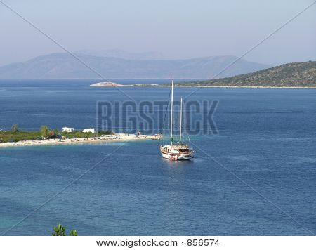 yacht anchored in Greece